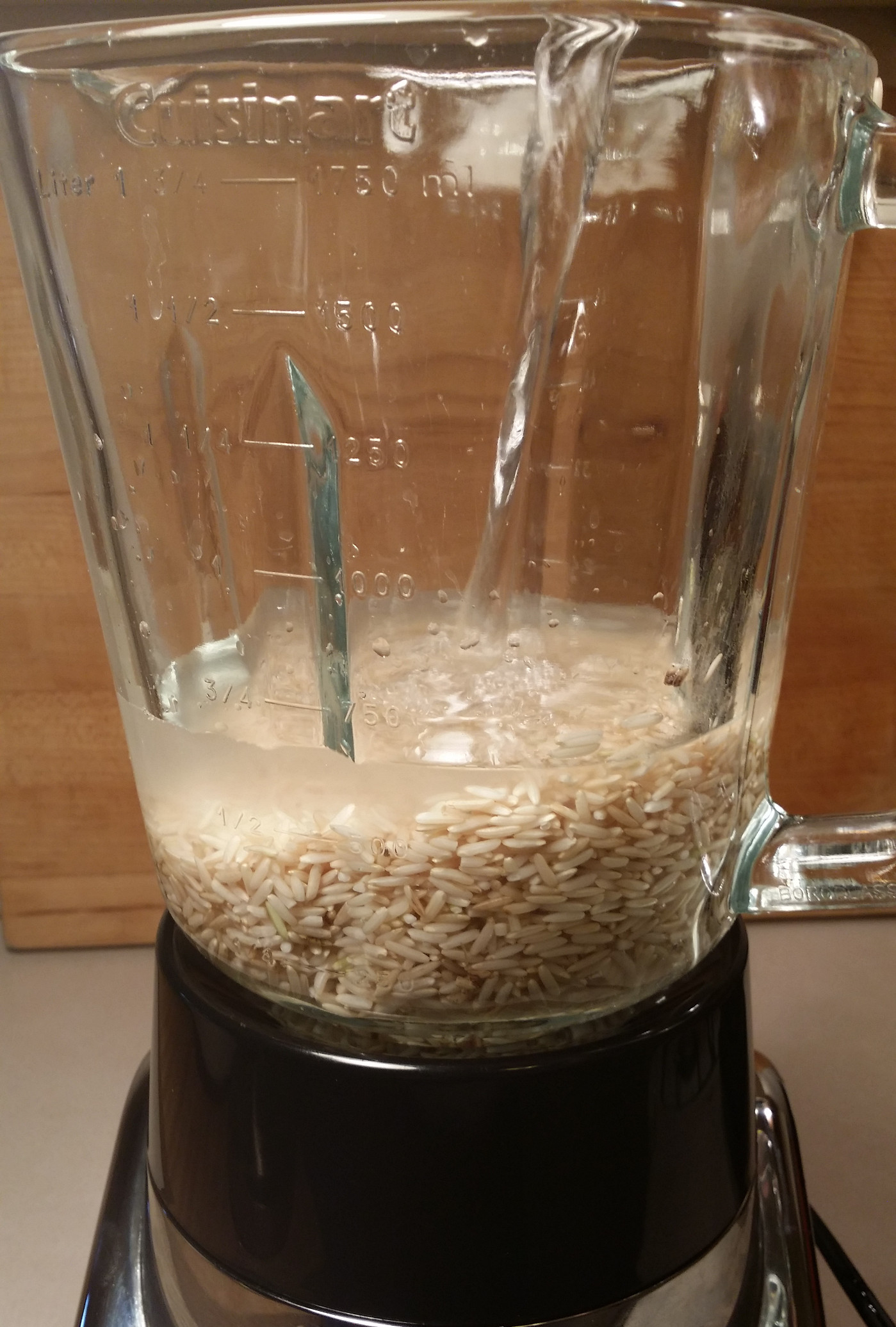 After The Rice Has Soaked, Drain But Do Not Rinse It Place Rice In A  Blender Along With The 4 Cups Of Water If You Want To Add Sweetener,